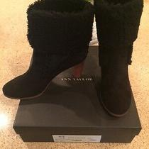 Ann Taylor Black Suede Booties W/shearling Lamb - Size 8 - Brand New Photo