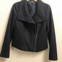 Ann Taylor Blazer Blue Black Womens 8 Wool Angled Zipper Jacket Full Zip Dressy Photo