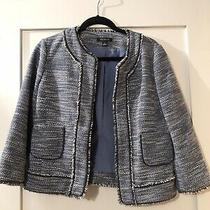 Ann Taylor Blazer Size 4 Black Blue and White Tweed Jacket Womens Photo