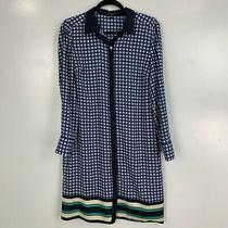 Ann Taylor Blue Geometric Printed Long Sleeve Knee Length Dress Size M Photo