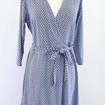Ann Taylor Blue Ikat Geometric Print 3/4 Sleeve Knit Tie Wrap Dress Size 4 Photo