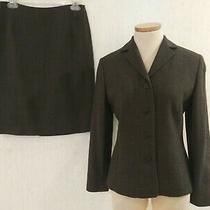 Ann Taylor Brown & Gray Lined Wool Blazer & Skirt Suit Set Size 6 Euc Photo