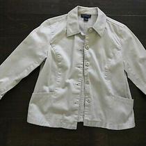 Ann Taylor Button Up Jacket Blazer Women Size Xs 100% Cotton Light Beige Photo