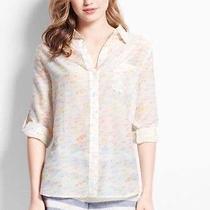 Ann Taylor Cotton Silk Umbrella Pattern Blouse White Multi Nwt 69.50 Size Large Photo
