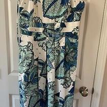 Ann Taylor Cream Blue & Green Floral Lined Dress Sz 16 Strapless Photo