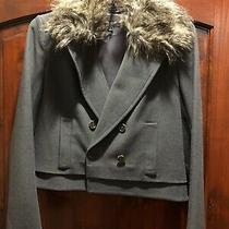 Ann Taylor Cropped Gray Blazer Jacket With Removable Fur Collar Size 6 Dressy Photo