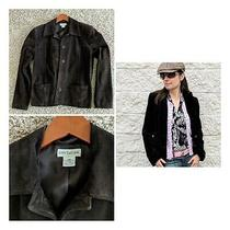 Ann Taylor Dark Brown Suede Leather Jacket Women's S Photo