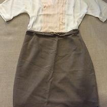 Ann Taylor Dress Look  Blush Pink Top With Belted Brown Skirt One Piece Sz 4  Photo