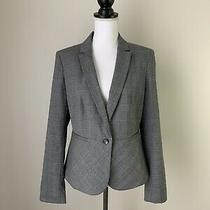 Ann Taylor Factory Nwt Blazer Jacket Gray Plaid Peplum Lined Career Size 8 Photo