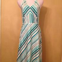 Ann Taylor Green Aqua Blue White Halter Striped Skirt Sun Dress Summer Beach 6 Photo