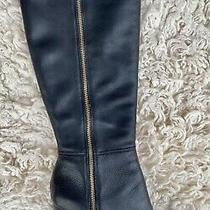 Ann Taylor Knee High Genuine Leather Gold Accent Side Zip Black Tall Boots 8m Photo