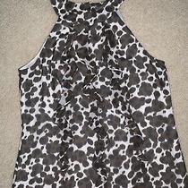 Ann Taylor Ladies Sz 8 M Medium Ruffle Dress Shirt Leopard Animal Print Brown  Photo