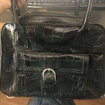 Ann Taylor Large Black Faux  Leather Tote Purse Handbag Photo