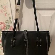 Ann Taylor Leather Tote Bag Black 12
