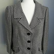 Ann Taylor Lined Black White  Houndstooth 3/4 Sleeve Blazer Jacket Size 14 Photo