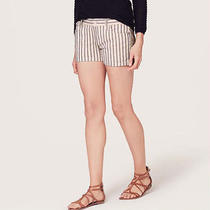 Ann Taylor Loft 3 Inch Denim Shorts in Blush Pink With Navy Stripe - Size 00 Photo