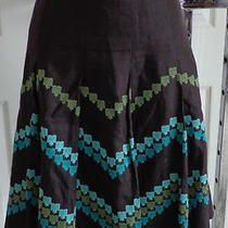 Ann Taylor Loft All Linen Wide Pleated Skirt Dark Brown Aqua Teal Knee Lined 4 Photo