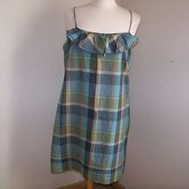 Ann Taylor Loft Aqua and Tan Plaid Spaghetti Strap Dress 12 Excellent Condition Photo