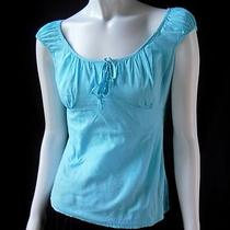 Ann Taylor Loft Aqua Blue Fitted Peasant Blouse Cap Sleeve Cotton Shirt Top 2 Photo