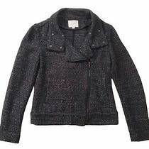 Ann Taylor Loft Asymmetrical Zipper Sweater Moto Jacket Black Sz Xs Extra Small Photo