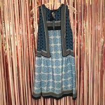 Ann Taylor Loft Beach Blue  White Mosaic Split Neck Mini Dress Tassels Medium M Photo