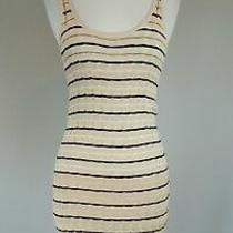 Ann Taylor Loft Beige Black Textured Knit Stripe Sleeveless Sweater Dress Sz Xs Photo