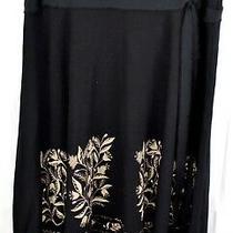 Ann Taylor Loft Black and Brown Patterned Aline Fringe Hem Skirt Size S Photo