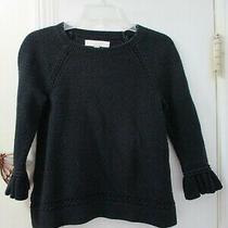 Ann Taylor Loft -  Black Knit Pullover Sweater - Size Xs  -  3/4 Sleeve W/ruffle Photo