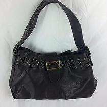 Ann Taylor Loft Black Leather Shoulder Handbag Satchel Bag Purse Photo
