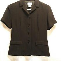 Ann Taylor Loft Black Short Sleeve Jacket/blazer Sz 4 Euc Photo
