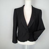 Ann Taylor Loft  Black Stretch Suit Jacket Blazer Size 10 Carrer Work Ruffle Yf Photo