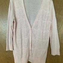 Ann Taylor Loft Blush Pink Cardigan Sweater Womens v-Neck Sz Large 100% Cotton Photo