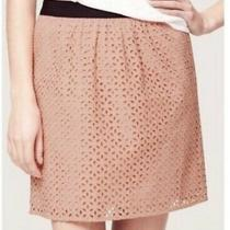 Ann Taylor Loft Blush Pink Eyelet Lace & Black Band Skirt - Retail 70 - Size 14 Photo