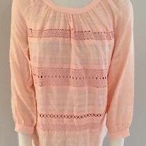 Ann Taylor Loft Blush Pink Lace Boho Top Blouse Shirt Womens Size Xs Photo