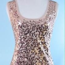 Ann Taylor Loft Blush Pink Sequin Sleeveless Stretch Evening Knit Top Size M Photo