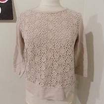 Ann Taylor Loft Blush Sweatshirt With Crochet Front Small Euc Photo