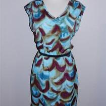 Ann Taylor Loft Brown/aqua Artsy Sleeveless Dress Sz 8 Photo