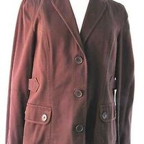 Ann Taylor Loft Brown Button Front Flap Button Pockets Blazer Jacket Size 10 Photo