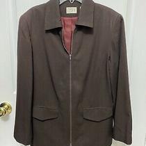 Ann Taylor Loft Brown Full Zip Front Jacket Blazer Coat Ladies Size 4 Petite Photo