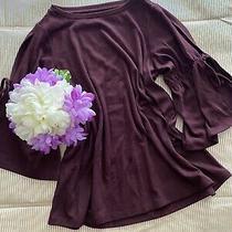 Ann Taylor Loft Burgundy 3/4 Sleeve Knit Top Women's Size Xs Photo