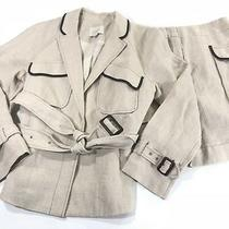 Ann Taylor Loft Canvas Linen Blazer Coat Skirt Suit Beige Sz 6  Photo