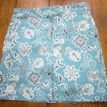 Ann Taylor Loft Cotton and Spandex Skirt Above Knee Aqua Paisley Print Size 4 Photo