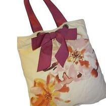 Ann Taylor Loft  Cotton Canvas Watercolor Book Tote W/purple Grosgrain Bow Photo