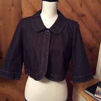 Ann Taylor Loft - Cropped Blue Jean Stretch Denim Jacket Tan Topstitching Size 6 Photo