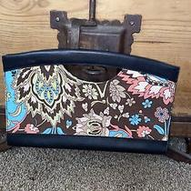 Ann Taylor Loft Floral Printed Fabric Brown Leather Trim  Clutch Handbag Photo