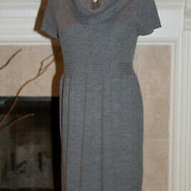 Ann Taylor Loft Gray S/sleeve Dress With Oversized Turtleneck Size M Wool Blend Photo