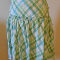 Ann Taylor Loft Green Plaid 100% Linen Casual a-Line Skirt Size 4 Photo