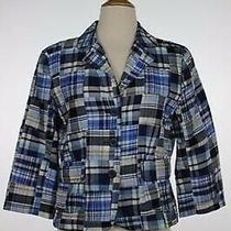 Ann Taylor Loft Jacket Size 6 Navy Blue Plaid Cotton Basic Blazer Casual Photo