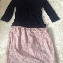 Ann Taylor Loft Lace Skirt Blush 6 and Small Gap Cotton Knit Top Photo