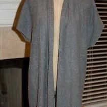 Ann Taylor Loft Lounge S/sleeve Long Gray Open Front Cardigan Sweater Size M Photo